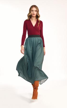 Marszczona zielona spódnica maxi