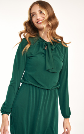 Green dress with tie