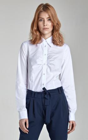 Biała koszula z marszczeniem na biuście