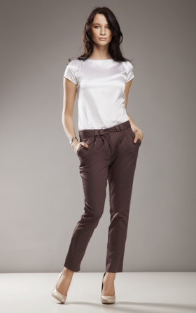 Elegant trousers 7/8 fashion - mocca