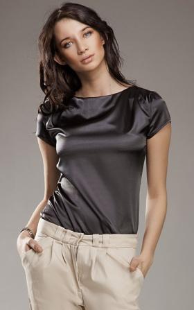 Subtelna i delikatna grafitowa bluzeczka