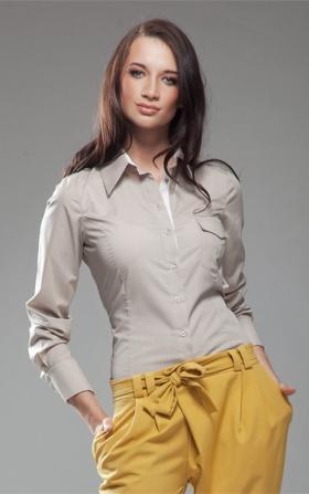 Oryginalna koszula dwukolorowa - beż/biały
