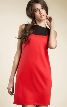 Krótka czerwona sukienka dwukolorowa