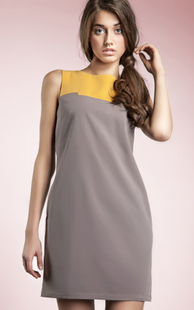 Czarująca sukienka dwukolorowa - mocca