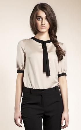 Subtelna bluzeczka z wstążką - beż