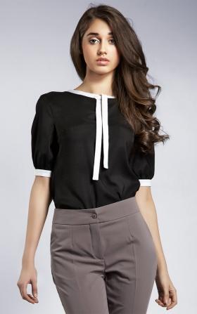 Subtelna bluzeczka z wstążką - czarny