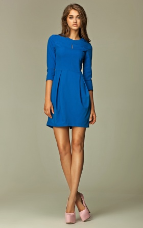 Dress with a crack on the neckline - blue