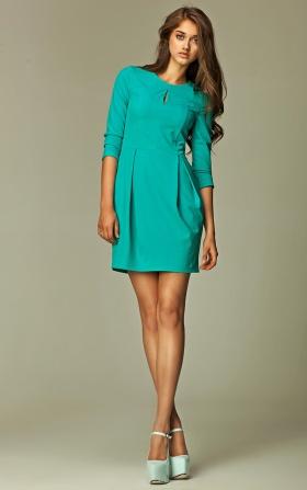 Sukienka z pęknięciem na dekolcie - morski