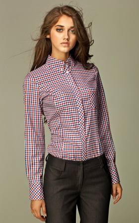 Trendy checkered shirt - red