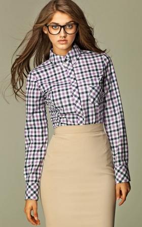 Koszula damska w fioletową kratę