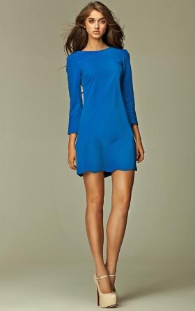 Intrygująca sukienka z zamkiem na plecach - niebieski