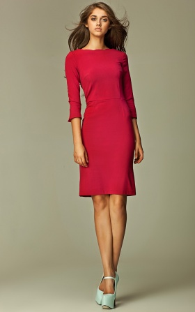 Dress with a wavy edge - claret