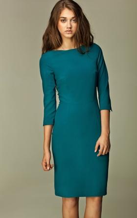 Klasyczna sukienka w kolorze butelkowej zieleni
