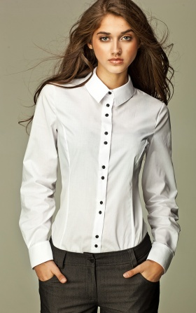 Shirt with double buttons - white