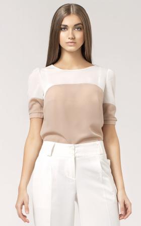 Dwukolorowa bluzka z krótkim rękawem - beż/ecry
