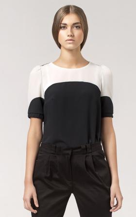 Dwukolorowa bluzka z krótkim rękawem- czarny/ecry