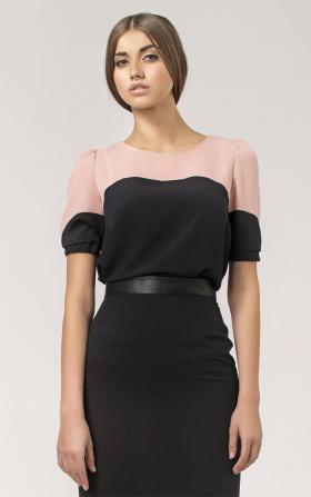 Dwukolorowa bluzka z krótkim rękawem - czarny/róż