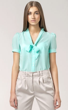 Blouse with a binding at the neckline - celadon