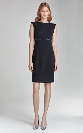 Czarna sukienka z kokardką