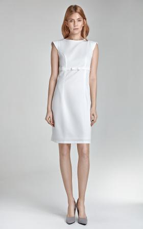 Sukienka w kolorze ecru z kokardką
