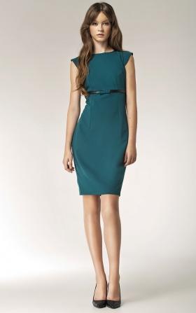 Elegancka sukienka w butelkowej zieleni z kokardką