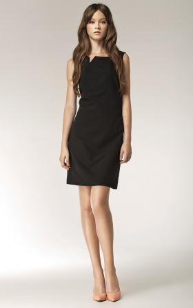 Sukienka z rozcięciem na dekolcie - bez rękawa - czarny