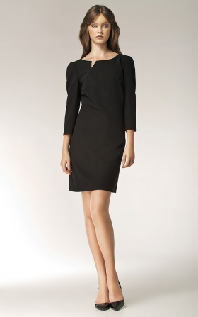 Dress with a cut on the neckline - long sleeve - black