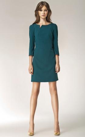 Sukienka z rozcięciem na dekolcie - długi rękaw - zielony