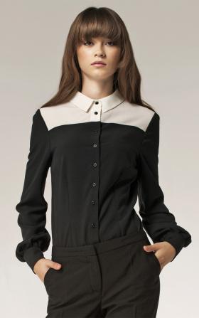 Czarna koszula damska z ecru dekoltem