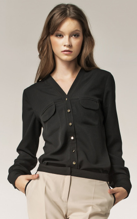 Blouse with gold buttons - black