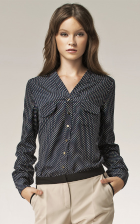 Blouse with gold buttons - dots
