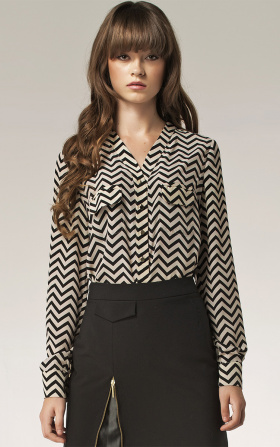 Blouse with gold buttons - stripes