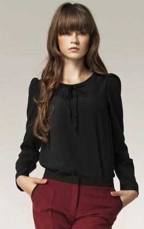 Bluzka z kokardką na dekolcie - czarny