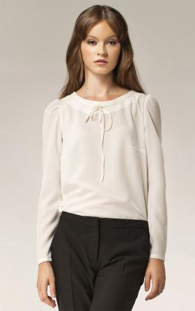 Damska bluzka z kokardką na dekolcie - ecry