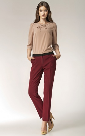 Trousers with trimming  - claret