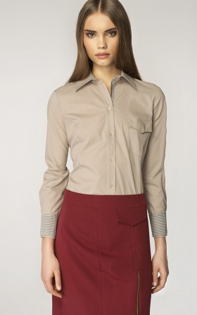 Beżowa koszula z kratką na mankiecie