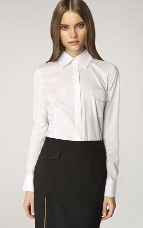 Koszula z kieszenią na biuście - biały