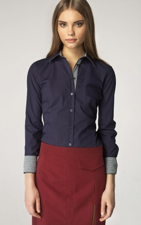 Shirt with a pocket at the breast - navy/checkered