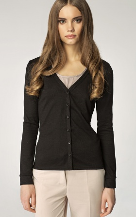 Sweater with buttoned V-neck - black