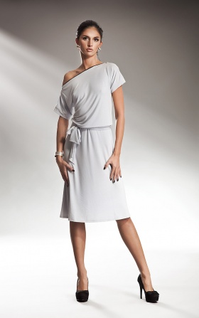 Subtle dress with a zipper - gray