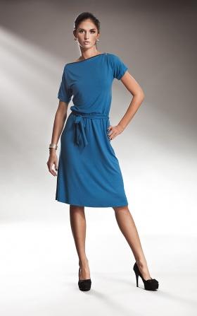 Subtelna niebieska sukienka z zamkiem