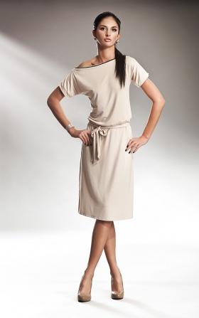 Kremowa subtelna sukienka z zamkiem