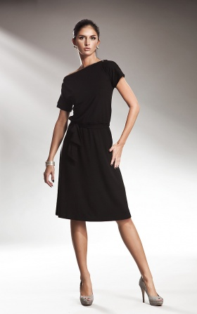 Subtle dress with a zipper - black