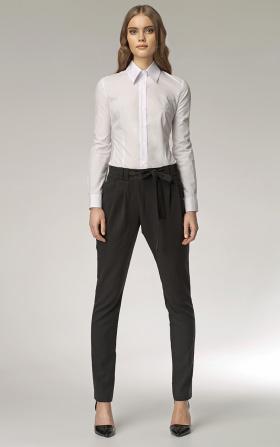Spodnie z nietypowym zapięciem - czarny