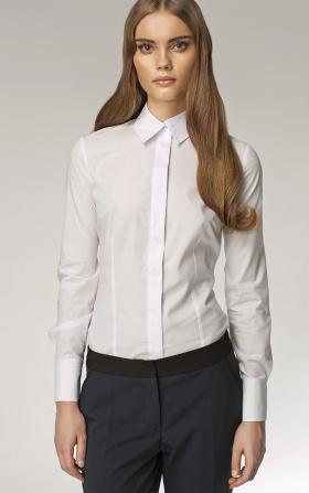 Biała koszula damska z krytymi guzikami