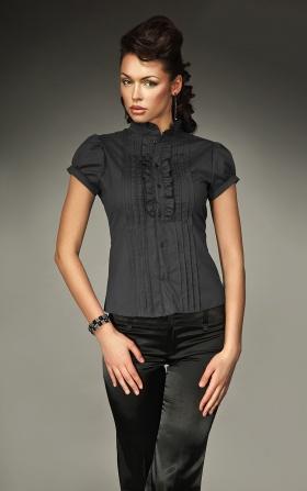 Urocza koszula z falbanką i zakładkami - czarny