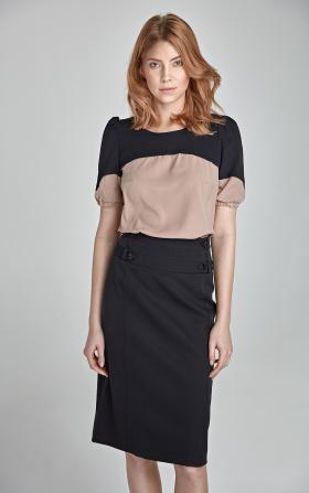 Elegancka spódnica z paskami - czarny