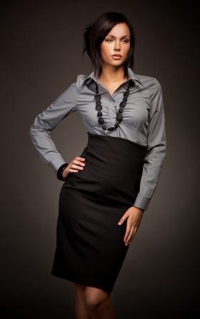 Elegancka spódnica z podniesionym stanem - czarny