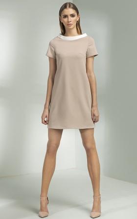 Sukienka trapezowa - beż
