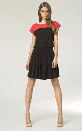 Dwukolorowa sukienka - czarny